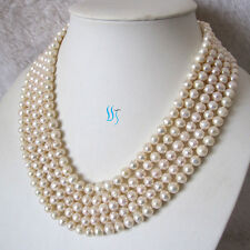 """Pearl Zone Freshwater Pearl Necklace 6-8mm Off Round/Rice 100"""" 50"""" 34"""" 22"""" UK"""