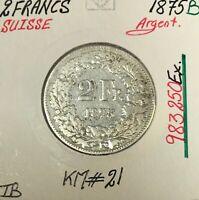 SUISSE - 2 FRANCS 1875 B - Pièce de Monnaie en Argent - TB