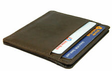 Real Leather Credit Card  Slim Mini wallet Brown For men & women Photo ID Holder