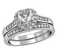 1.75 Ct Heart Shape CZ Wedding Engagement Ring Set Women's Size 5,6,7,8,9,10