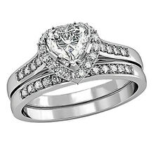1.80 Ct Heart CZ Women's Stainless Steel Engagement Wedding Ring Set Size 5 - 10 9