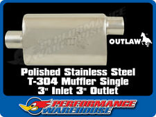 "OUTLAW MUFFLER SINGLE OUTLET 3"" IN/OUT POLISHED T-304 STAINLESS STEEL"
