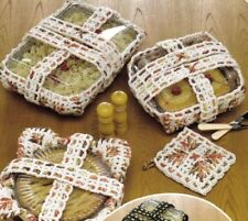 4 Casserole Carriers Potholders Cozies Christmas Crochet'N'Weave Fall Pie Square