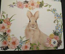 New listing Retired Pottery Barn Flora Floral Bunny Corkmat Hardmat Placemat Set of 4 New.