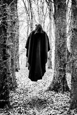 Framed Print - Hooded Death Floating in Forest (Picture Poster Black White Art)