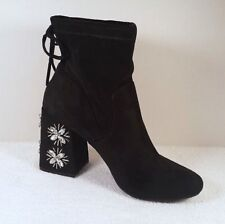 A New Day Womens Size 10 Black Booties Faux Suede Jeweled 3.75 in Heel Boho Goth