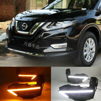 DRL FOR NISSAN ROGUE X-TRAIL 2017 2018 LED DAYTIME RUNNING LIGHT FOG LAMP W TURN