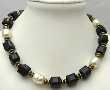 "Vintage MIRIAM HASKELL 15"" Necklace Simulated Pearls Black Cube Beads Gold Tone"