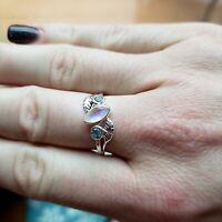 925 Sterling Silver Moonstone Blue Topaz Gemstone Leaf  Ring Size 5 to 12