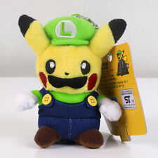Pokemon Center Pikachu Luigi Plush Toy Super Mario Cosplay Stuffed Doll 4.5""