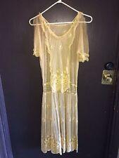 20s Flapper Dress Yellow Lace Netting Some Damage But Amazing Study