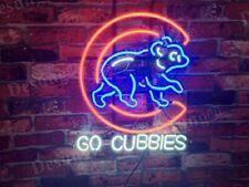 "Neon Light Sign 32""x24"" Chicago Cubs Go Cubbies Beer Bar Artwork Decor Lamp"