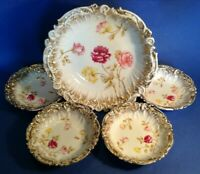 Dresden 5 Pc Salad Or Berry Bowl Set With Ornate Embossed Gilded Rims - Germany