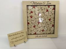 Personalised birch plywood red drop box wedding guest book 104 hearts gift