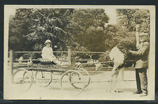 CA Los Angeles RPPC c.1920 GIRL on WAGON at L.A.OSTRICH FARM near Lincoln Park