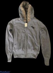 NWT Abercrombie & Fitch Faux Fur-Lined Hoodie Women Sweatshirt  Gray Size:L