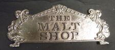"""""""THE MALT SHOP"""" BRASS CASH REGISTER TOP SIGN 8 1/8"""" C-C HOLES"""