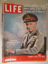 Life Magazine October 13 1958 Field Marshal Viscount Montgomery Alamein vtg ads