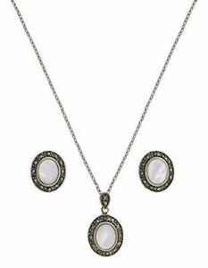 Montana Silversmith Sparks Will Fly Earings Necklace Set Mother of Peal rrp$190