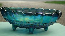 """Vintage Iridescent Blue Indiana Carnival Glass Footed Oval Fruit Bowl Dish 12"""""""