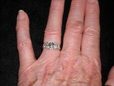 677  14k white gold filigree diamond ring .25 TCW .15 center H VS 2 Size 6.75