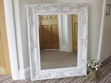 Large Rectangular Vintage Wood Frame Mirror Floral Decoration White Finish New