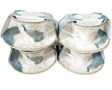 222 Fifth PEACOCK GARDEN Tea Cup Saucer Set Teacup Teal Green Set Of 4!