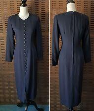 Vintage 80's ANN TAYLOR Shoulder Pad Faux Button Rayon Wool Long modest dress 2