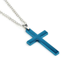 1pc Fashion Trendy Stainless Steel Simple Cross Pendant Necklace for Men Women Blue