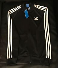 Brand New Adidas Superstar Track Jacket Men's Black/White stripes on sleeves