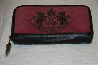 JUICY COUTURE Fashion Wallet Clutch Maroon Pink Brown Leather Trim Used See Pics