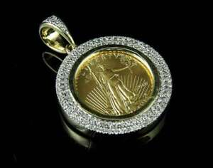 Men's 1.5ct Round Sim Diamond Lady Liberty Pendant 14k Yellow Gold Finish Silver