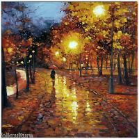 Rainy Night - Hand Painted Modern Impressionist Landscape Oil Painting 50x50cm
