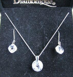 14k Solid White Gold Diamonique Necklace Set & Earrings 7.8 CTW CZ
