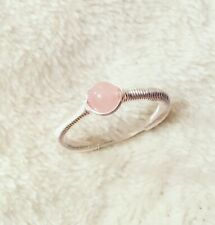 Rose Quartz Sterling Silver Wire Wrap Pink Handmade Size L