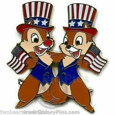 Disney Pin: WDW/DLR Patriotic Chip 'n' Dale - Flags and Hats (New On Card)