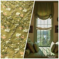 NEW! 100% Silk Dupioni Drapery Olive Green Embroidered Floral Fabric By The Yard