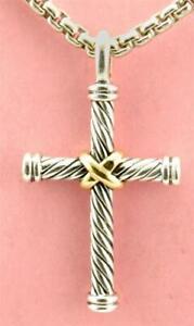"DAVID YURMAN Thoroughbred 22"" Cross Necklace 18k Gold & Sterling Silver"