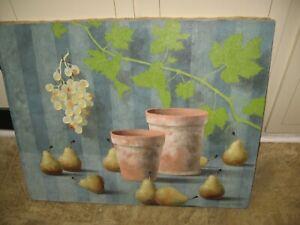 "Nicolas Watine Oil On Canvas: LES POIRES 32"" x 26"" on Frame Still Life-NR050925F"