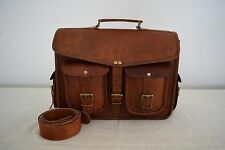 "Real Leather Backpack Convertible Messenger Bag 13"" MacBook Satchel Briefcase"