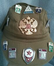 SOVIET RUSSIAN AFGANKA USSR AFGHANISTAN MILITARY CAP HAT with badges