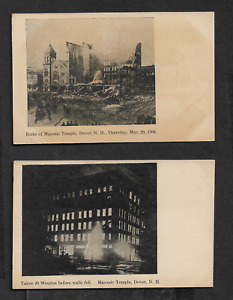 Pair of 1906 Masonic Temple Fire Postcards Dover NH