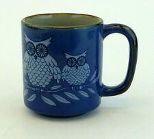 Night Owls Mug Coffee Cup Blue Tan Brown Birds Hoot Hoot 14 Ounce Vintage