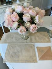 VTG Set Sheer Fabric Organdy Embroidered Placemats Napkins Runner Peach Chenille