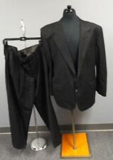 PERRY ELLIS Black White Striped Wool Lined Two Button Pant Suit Size 44R GG1033