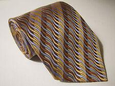 Geoffrey Beene NECK TIE 100% SILK Brown Blue & GOLD Pattern Stripes Wavy