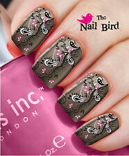 Nail Wraps PINK ABSTRACT FLOWERS - 20 Full Nail Art Water Decals Nail Transfers