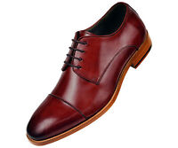 Asher Green Mens Burgundy Genuine Leather Cap Toe Lace Up Oxford : AG3887-175