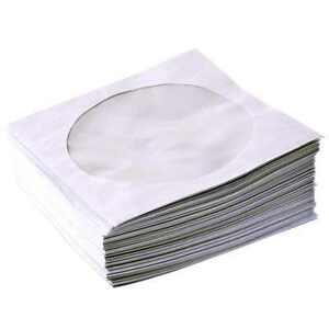 100 White Paper CD DVD Blu-ray Covers Sleeves Storage Case Wallet Envelope 80GSM