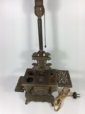 VINTAGE SALESMAN SAMPLE PERFECTION MINI CAST IRON STOVE LAMP CONVERTED